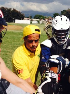 Peter Dante with members of the male lacrosse team
